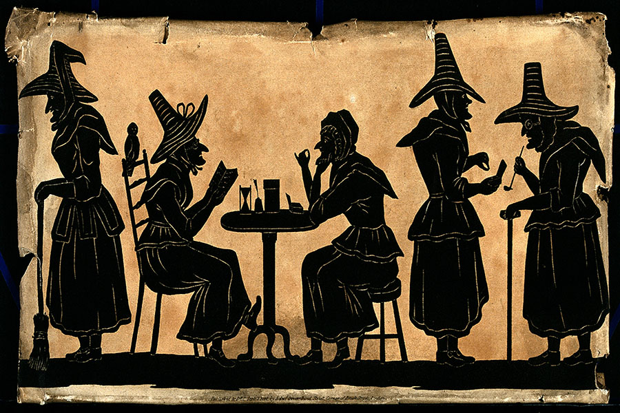 V0048920 Witches: five silhouetted figures. Credit: Wellcome Library, London. Wellcome Images images@wellcome.ac.uk http://wellcomeimages.org Witches: five silhouetted figures. September 1815 Published: Sept. 1, 1815.  Copyrighted work available under Creative Commons Attribution only licence CC BY 4.0 http://creativecommons.org/licenses/by/4.0/
