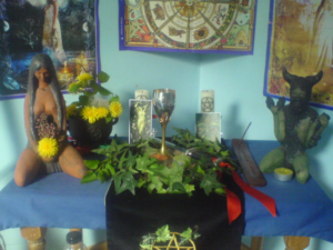 Wiccan_altar_for_Beltane_in_Wales